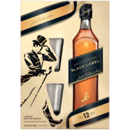 Johnnie Walker Black Label whisky 2 db pohárral díszdobozban