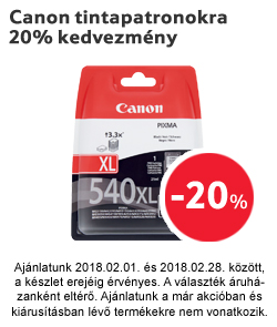 Canon tintapatronokra 20% kedvezmény