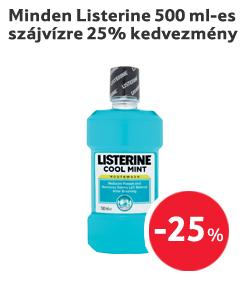 Minden Listerine 500 ml-es szájvízre 25% kedvezmény