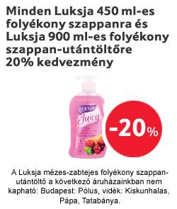 Minden Luksja 450 ml-es folyékony szappanra és Luksja 900 ml-es folyékony szappan-utántöltőre 20% kedvezmény