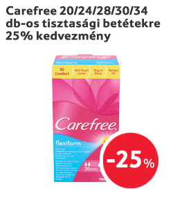 Carefree 20/24/28/30/34 db-os tisztasági betétekre 25% kedvezmény