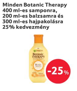 Minden Botanic Therapy 400 ml-es samponra, 200 ml-es balzsamra és 300 ml-es hajpakolásra 25% kedvezmény