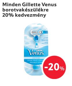 Minden Gillette Venus borotvakészülékre 20% kedvezmény