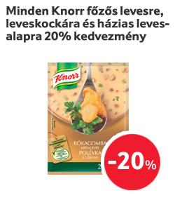 Minden Knorr főzős levesre, leveskockára és házias levesalapra 20% kedvezmény