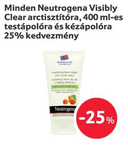 Minden Neutrogena Visibly Clear arctisztítóra, 400 ml-es testápolóra és kézápolóra 25% kedvezmény