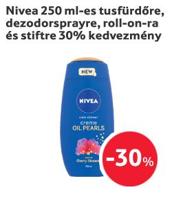 Nivea 250 ml-es tusfürdőre, dezodorspray-re, roll-on-ra és stiftre 30% kedvezmény
