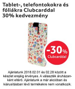Tablet-, telefontokokra és fóliákra Clubcarddal 30% kedvezmény