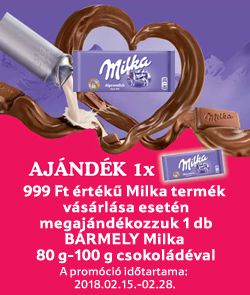 999 Ft értékű Milka termék vásárlása esetén megajándékozzuk 1 db BÁRMELY Milka 80 g-100 g csokoládéval