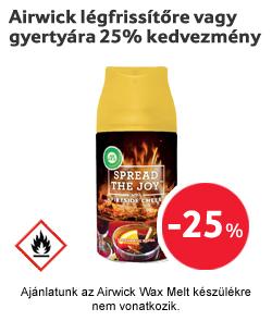 Airwick légfrissítőre vagy gyertyára 25% kedvezmény