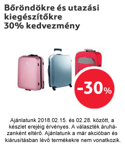Bőröndökre és utazási kiegészítőkre 30% kedvezmény