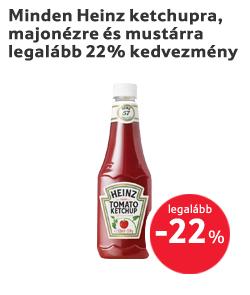 Minden Heinz ketchupra, majonézre és mustárra legalább 22% kedvezmény