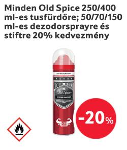 Minden Old Spice 250/400 ml-es tusfürdőre; 50/70/150 ml-es dezodorsprayre és stiftre 20% kedvezmény